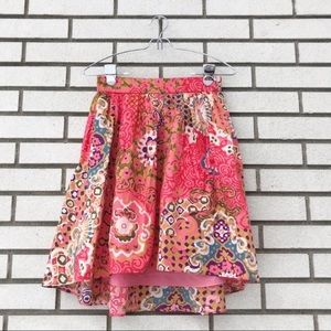 J. Crew Cotton Pleat Front Skirt in Paisley Print